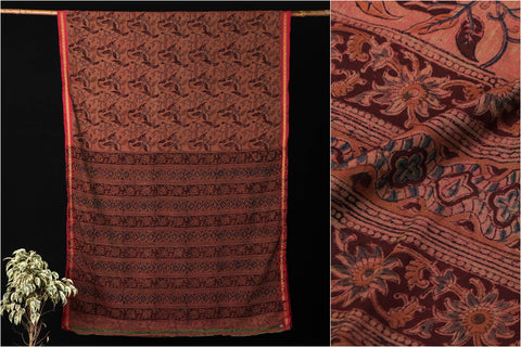 Mangalgiri Cotton Kalamkari Hand Block Print Handloom Saree with Blouse by DAMA