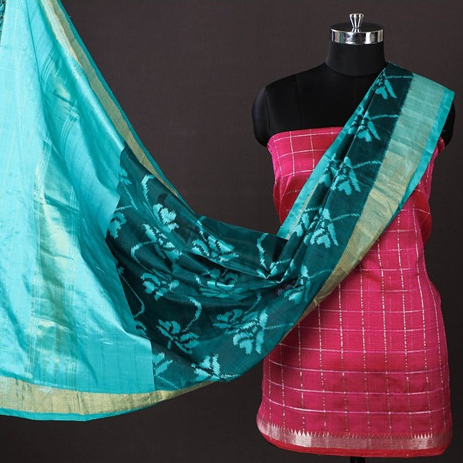 Mangalgiri Handloom Silk Cotton Checks Zari Border 2pc Suit with Hand Spun Pochampally Ikat Silk Zari Dupatta