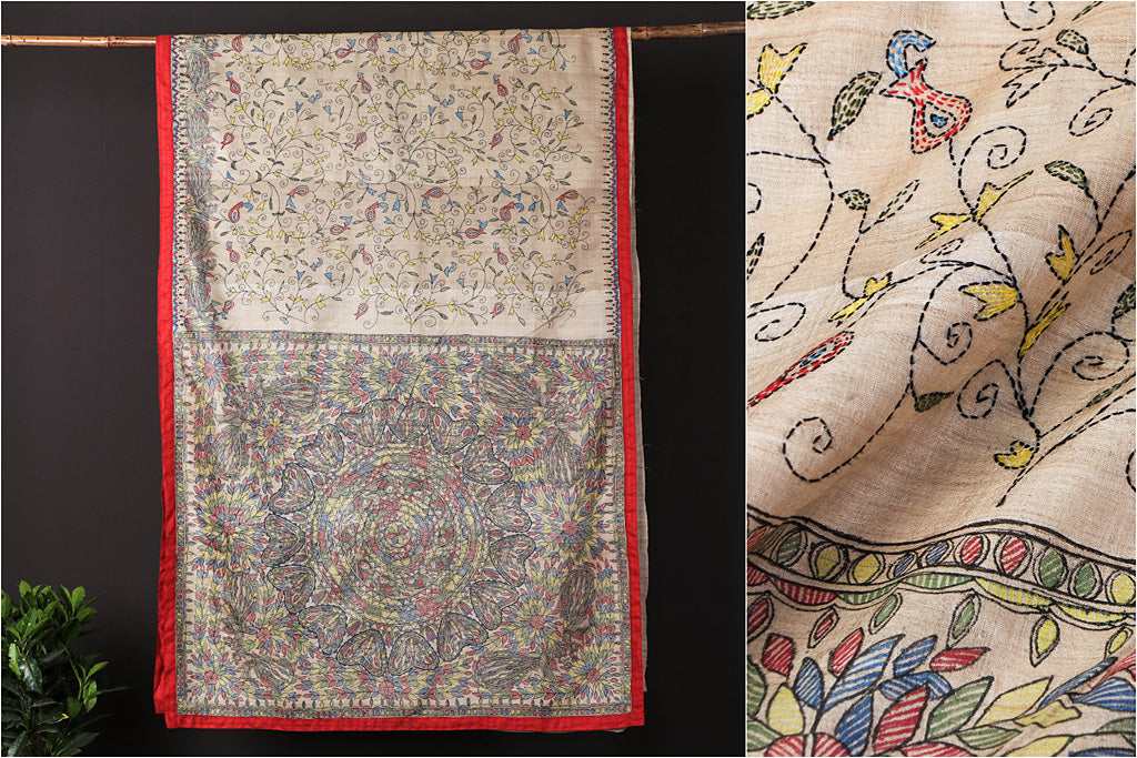 Traditional Madhubani Handpainted Pure Tussar Silk Handloom White Kantha Work Saree