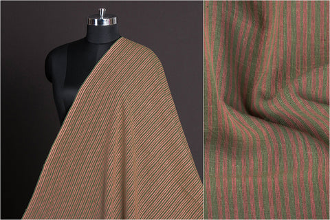 Organic Kala Cotton Pure Handloom Natural Dyed Carrot Red & Pista Green Stripe Fabric (Width - 44in)