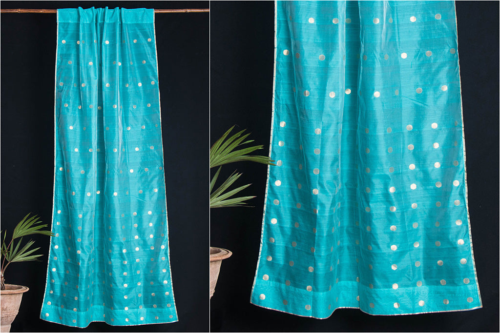 Special Chanderi Silk Cotton Polka Zari Buti Handloom Door Curtain (7 x 3.5 Feet)
