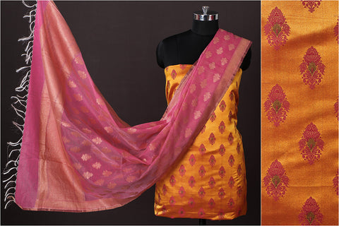Banarasi Silk Cotton Zari Booti Jacquard 2pc Suit with Banarasi Kora Silk Cotton Cutwork Handwoven Zari Buti Dupatta