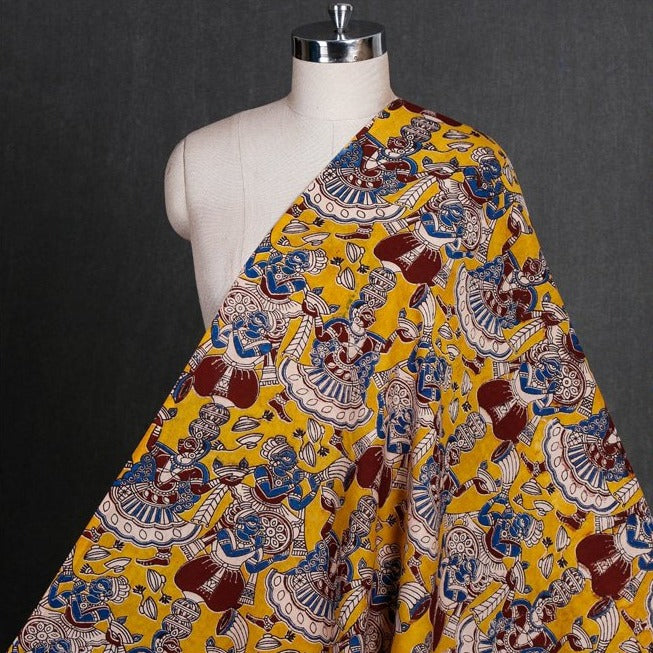 Silk Cotton Kalamkari Print Washed Fabric
