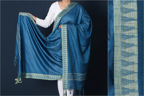 Bahama Blue - Mulberry Silk Handloom Dupatta with Tassels