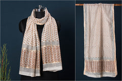 Special Sanganeri Block Printed Handloom Chanderi Silk Stole with Zari Border