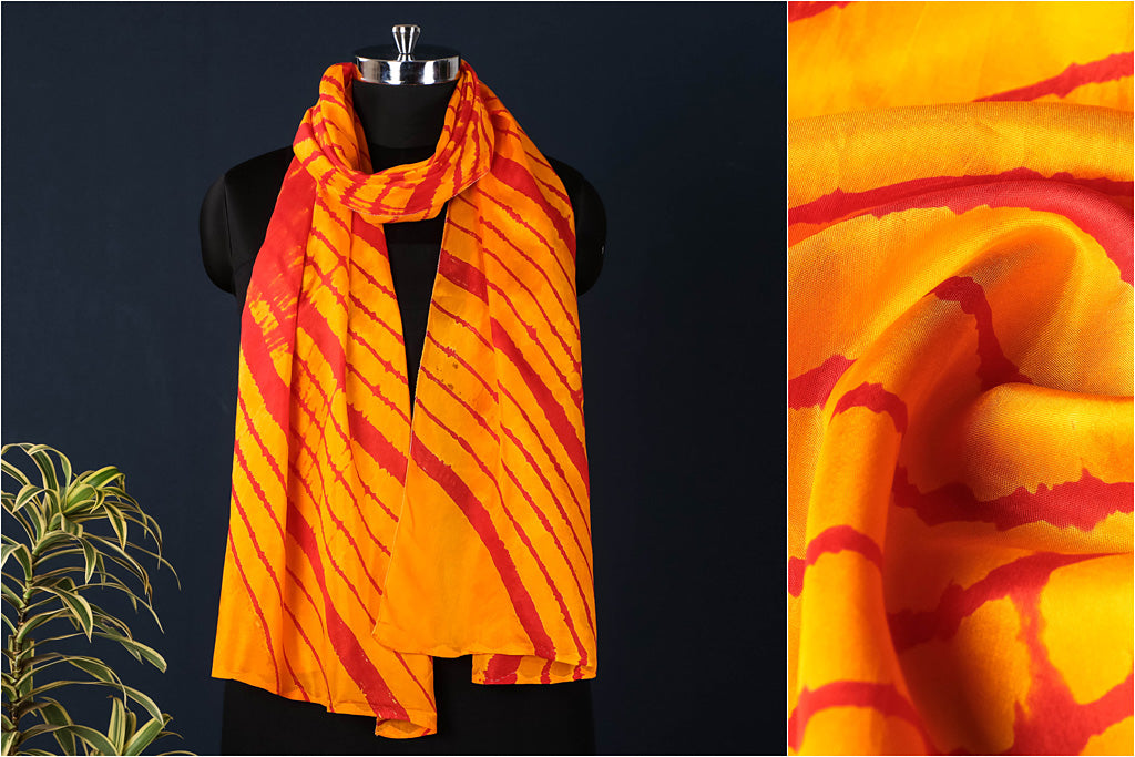 Original Leheria Tie-Dye Pure Mulberry Silk Stole by Badshah Miyan