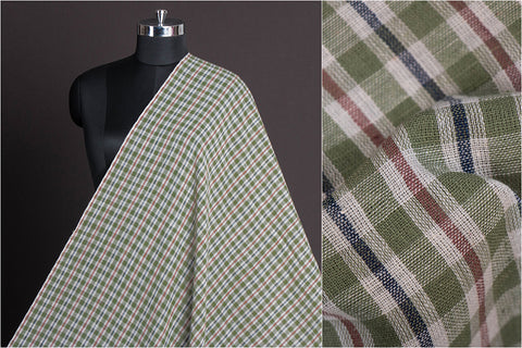 Organic Kala Cotton Pure Handloom Natural Dyed Pista Green, Brown & Blue Check Fabric (Width - 44in)
