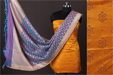 Banarasi Silk Cotton Zari Booti Jacquard 2pc Suit with Banarasi Handwoven Viscose Silk Zari Dupatta