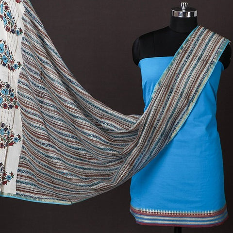 South Cotton Jacquard Zari Border 2pc Suit with Maheen Kaam Sanganari Signature Hand Block Print Chanderi Dupatta