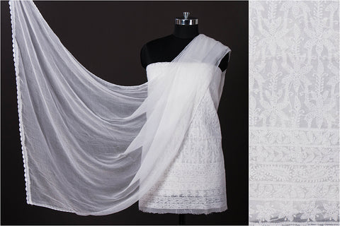 2pc Lucknow Chikankari Hand Embroidered Cotton Suit Material Set with Georgette Dupatta