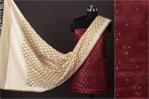 Banarasi Silk Cotton Zari Booti Jacquard 2pc Suit with Banarasi Kora Silk Cotton Cutwork Handwoven Dupatta