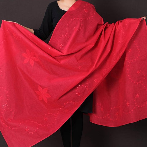 Patti Kaam Applique Work Pure Cotton Dupatta from Rampur