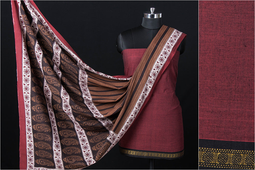 2pc Dama Mangalgiri Handloom Cotton Suit with Dohra Gad Bagh Print Special Cotton Dupatta