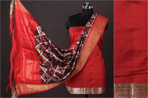 Mangalgiri Handloom Silk Cotton 2pc Suit with Hand Spun Pochampally Ikat Silk Zari Dupatta