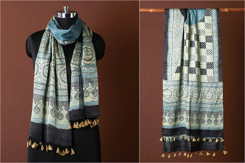Sufiyan Khatri Special Ajrakh Hand Block Printed Natural Dyed Pure Gaji Silk Stole with Tassels