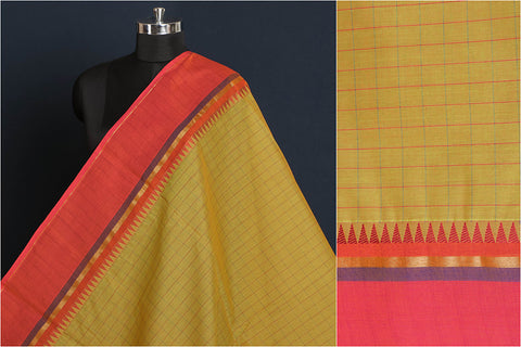 Kanchipuram Checks Cotton Fabric with Zari & Thread Border