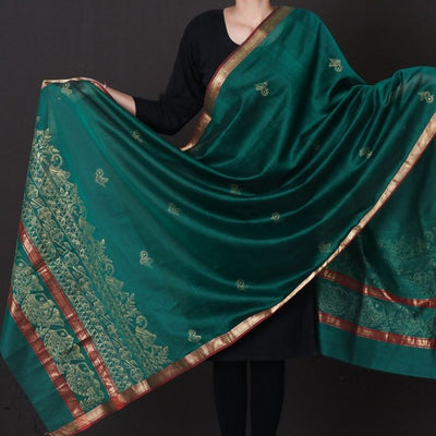Traditional Madhubani Handpainted Maheshwari Silk Handloom Zari Dupatta with Tassels
