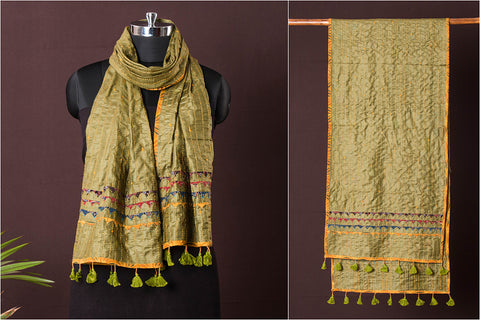Kutch Tagai Work Ajrakh Border Silk Stole with Tassels