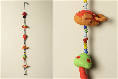 Handmade Frog Toadstool Hanging with Bell