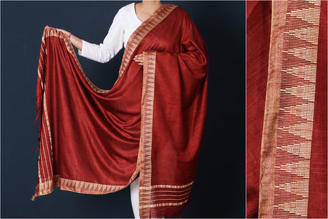 Falu Red - Mulberry Silk Handloom Dupatta with Tassels