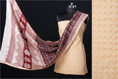 2pc Traditional Pure Banarasi Silk Cotton Zari Buti Handloom Suit with Special Bagh Block Print Maheshwari Silk Dupatta