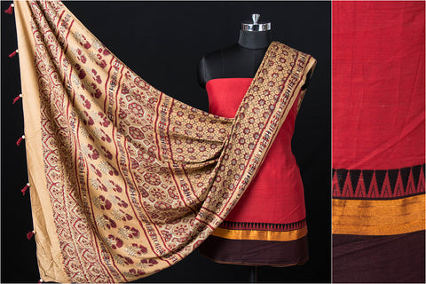 2pc Dharwad Handloom Cotton Suit with Ajrakh Block Print Natural Dyed Modal Silk Dupatta
