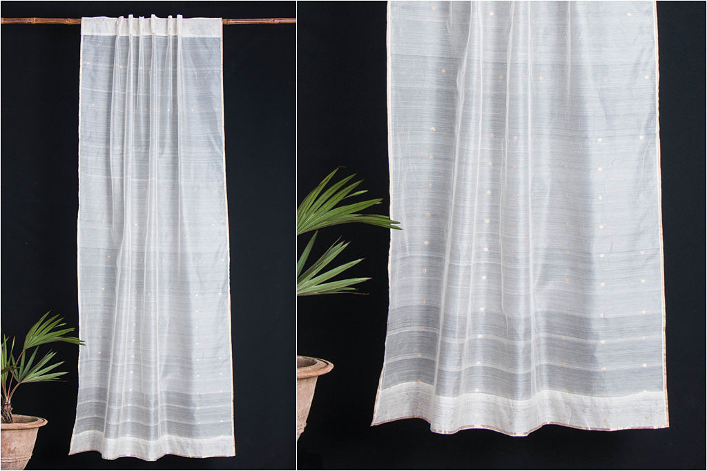 Special Chanderi Silk Cotton Choti Dana Zari Buti Handloom Door Curtain (7 x 3.5 Feet)