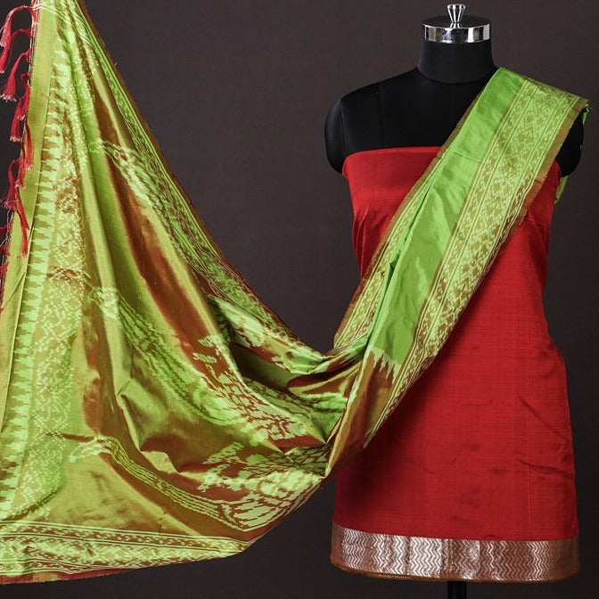 Mangalgiri Handloom Silk Cotton Silver Zari 2pc Suit with Handwoven Pochampally Ikat Silk Dupatta