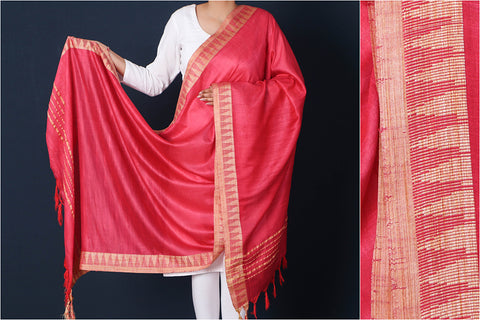 Cardinal Red - Mulberry Silk Handloom Dupatta with Tassels
