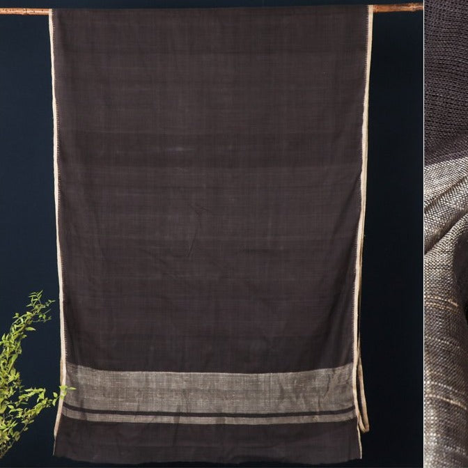 Srikakulam Muga Silk Natural Dyed Handloom Saree with Kuppadam Border by DAMA