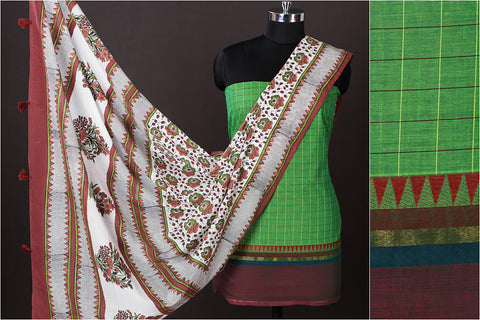 Kanchipuram Checks Cotton 2pc Suit with Sanganeri Block Printed Mul Cotton Dupatta with Tassels