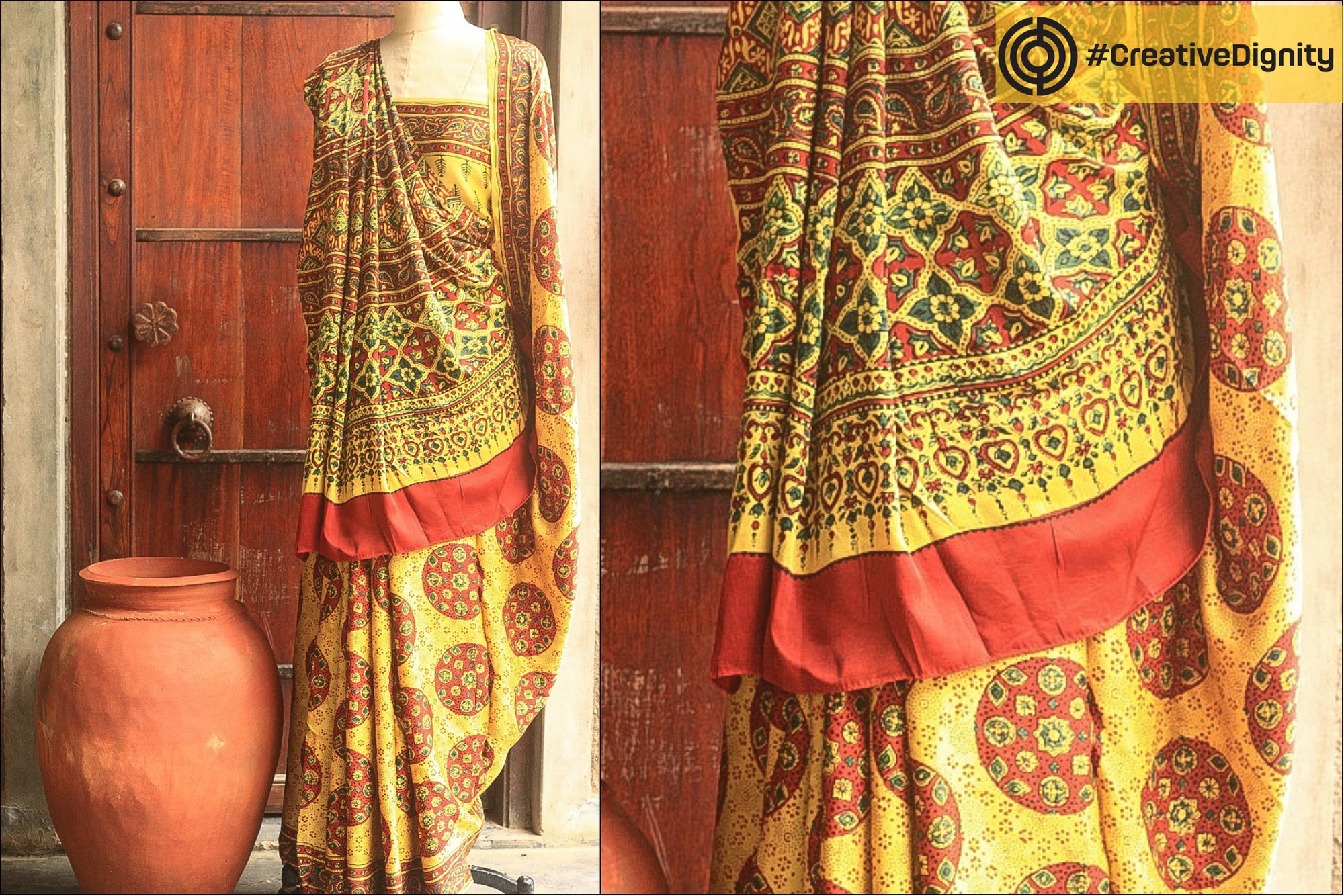 Special Modal Silk Ajrakh Block Print Natural Dyed Saree by Nasir Ismail Khatri