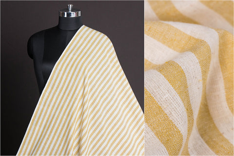 Organic Kala Cotton Pure Handloom Natural Dyed Light Mahendi & White Stripe Fabric (Width - 44in)