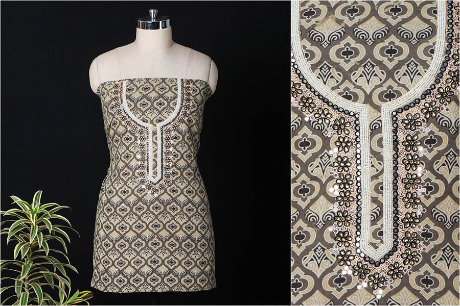 Hand Embroidered Bead Work Ajrakh Block Printed Cotton Kurta Material (2.45 metres)