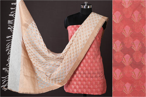 Banarasi Silk Cotton Zari Booti Handloom 2pc Suit with Banarasi Silk Cotton Cutwork Handwoven Zari Buti Dupatta