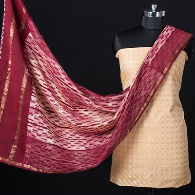 2pc Banarasi Silk Cotton Zari Booti Handloom Suit with Sujangarh Nui Shibori Maheshwari Silk Dupatta