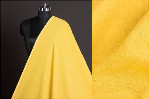 Organic Kala Cotton Pure Handloom Natural Dyed Plain Yellow Fabric (Width - 43in)