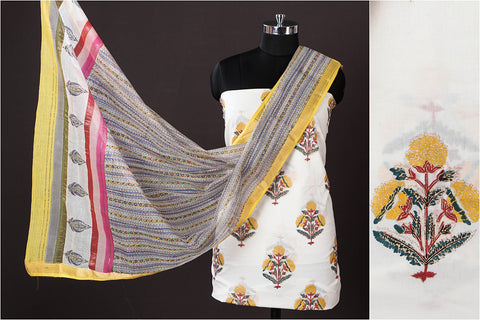 Golden Buti Sanganeri Block Printed Cotton 2pc Suit with Maheen Kaam Sanganari Hand Block Print Chanderi Silk Dupatta