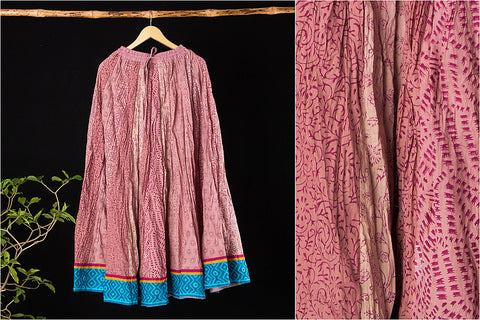 Kusumlata Block Printed Cotton Crinkle Long Skirt