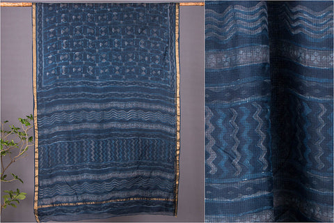 Akola Block Printed Kota Doria Silk Saree with Zari