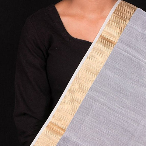 Chanderi Silk Nakshi Kinari Border Handloom Mercerized Fabric