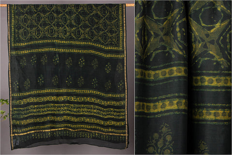 Akola Block Printed Chanderi Silk Saree with Zari