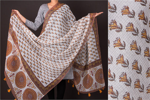 Sanganeri Block Print Kota Doria Cotton Dupatta with Tassels