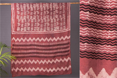 Natural Dyed Cotton Saree with Block Art Prints by Bindaas Unlimited
