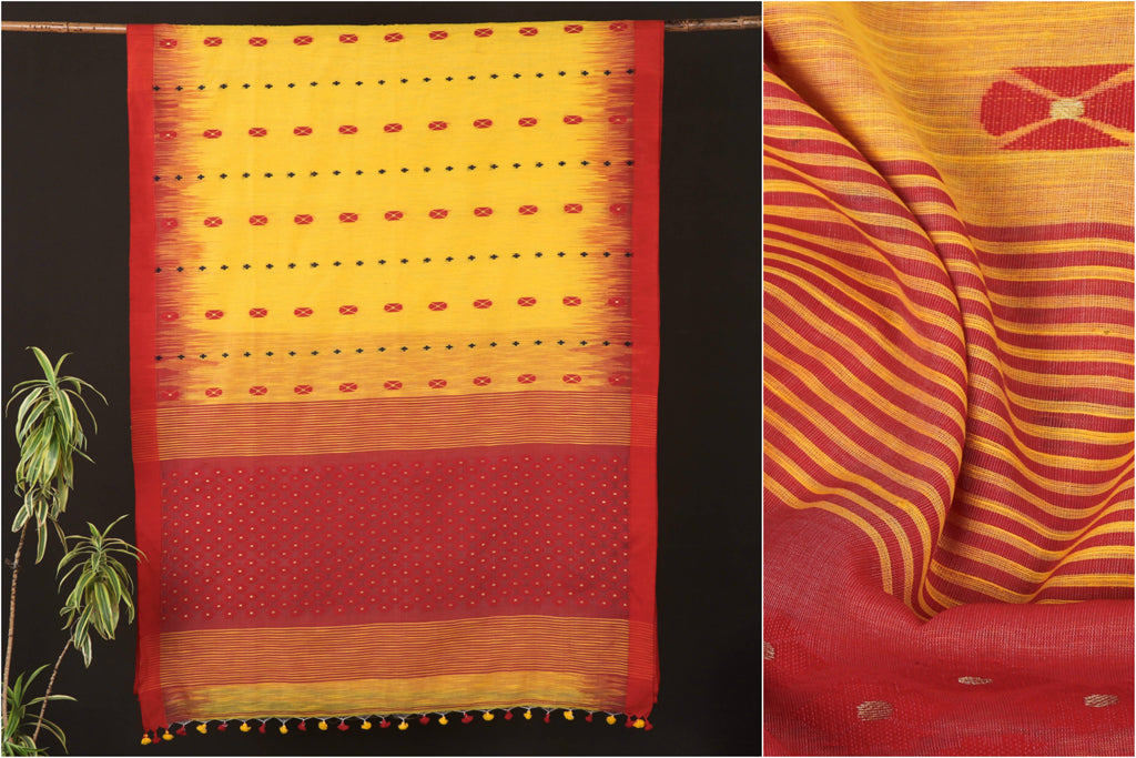 Handloom Silk Cotton Jamdani Buti Saree from Nadia