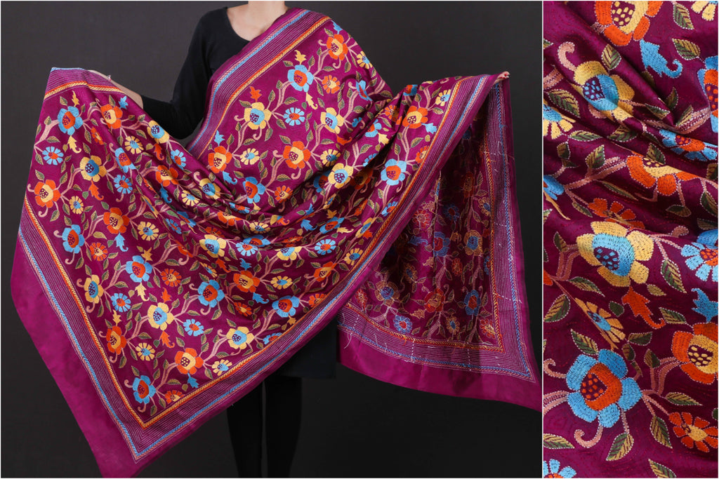 Authentic Bengal Kantha Embroidered Pure Silk Handloom Dupatta