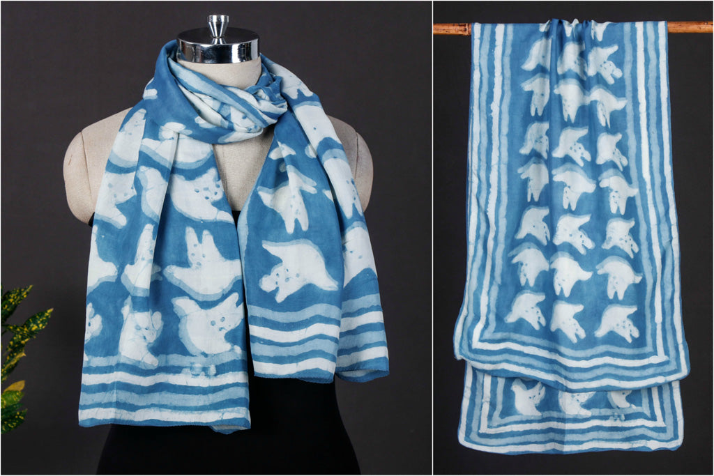 Wind Beneath My Wings - Bindaas Art Block Print Handspun Handwoven Soft Mulberry Silk Stole