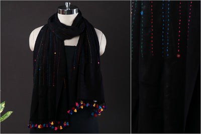 Kutch Handwoven Embroidered & Mirror Work Cotton Stole with Tassels