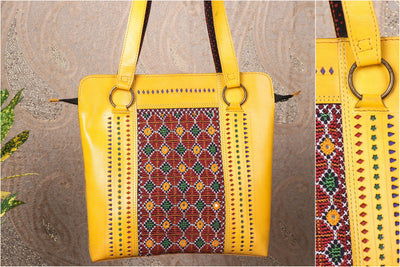 Handcrafted Kutchi Embroidery & Mashru Silk Leather Shoulder Bag