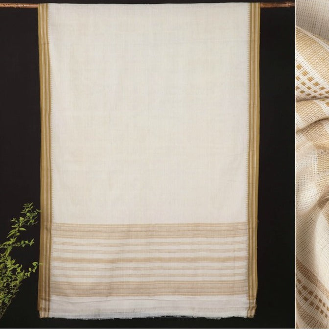 Srikakulam Natural Dyed Handloom Cotton Saree with Kuppadam Border by DAMA